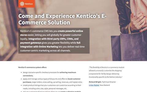 Screenshot of Landing Page kentico.com - E-commerce Demo | Kentico CMS for ASP.NET - captured Feb. 10, 2016