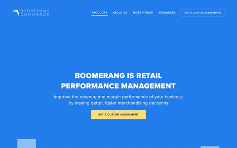 Screenshot of Products Page boomerangcommerce.com - Products — Boomerang Commerce - captured Aug. 25, 2017