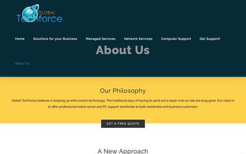 Screenshot of About Page global-techforce.com - About Us – Global Techforce - captured Nov. 5, 2018