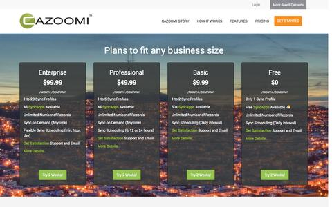 Screenshot of Pricing Page cazoomi.com - Pricing - Cloud software and services from Cazoomi - captured Oct. 28, 2014