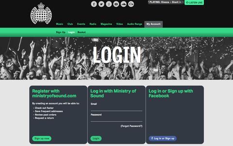 Screenshot of Login Page ministryofsound.com - My Account | Login - captured Oct. 25, 2015