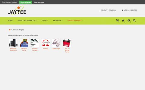 Screenshot of Products Page jaytee.com - Product Ranges from Jaytee - captured Oct. 6, 2014