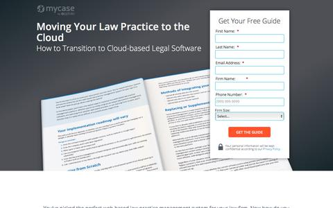 Screenshot of Landing Page mycase.com - Moving Your Law Practice to the Cloud :: MyCase Legal Resources - captured Oct. 24, 2017