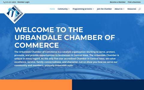 Screenshot of Home Page uniquelyurbandale.com - The Urbandale Chamber of Commerce | Des Moines Area Chambers - captured May 29, 2019