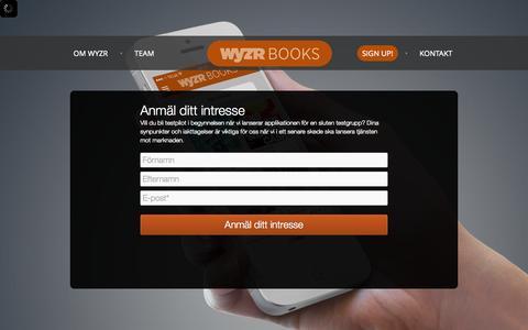 Screenshot of Signup Page wyzr.se - En social marknadsplats för böcker i mobilen Sign up - captured Oct. 26, 2014