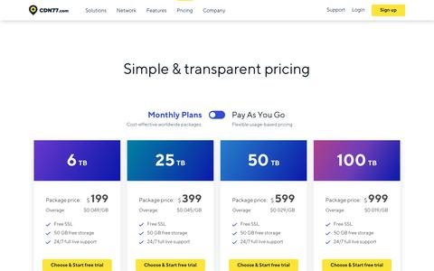 Screenshot of Pricing Page cdn77.com - CDN Pricing | Monthly Plans & Pay-As-You-Go | CDN77.com - captured Dec. 11, 2018