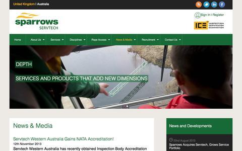 Screenshot of Press Page servtech.co.uk - Sparrows Servtech: News & Media - captured Oct. 26, 2014