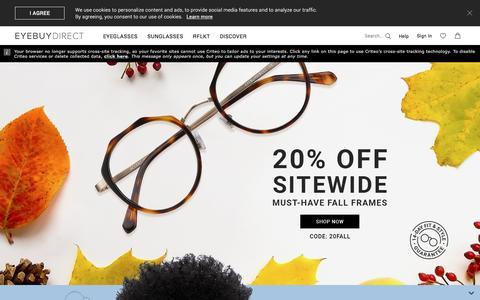 Screenshot of Home Page eyebuydirect.com - Shop Prescription Glasses Online | EyeBuyDirect - captured Sept. 23, 2018