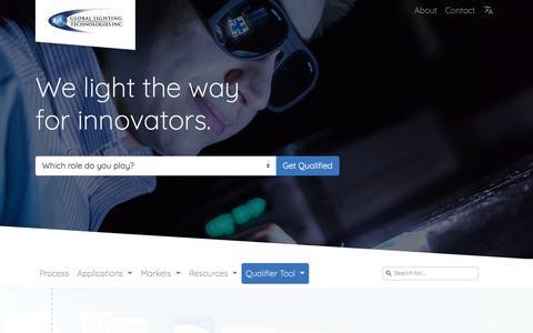 Screenshot of Home Page glthome.com - Global Lighting Technologies - captured Sept. 25, 2018