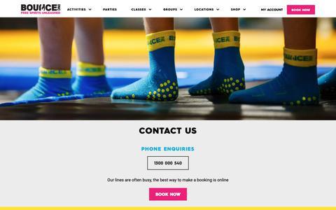 Screenshot of Contact Page bounceinc.com.au - Contact Us | Call or Email BOUNCE | Bounce Inc Australia - captured Nov. 6, 2018