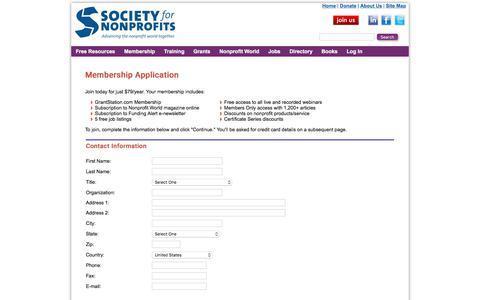 Membership Application | Society for Nonprofits
