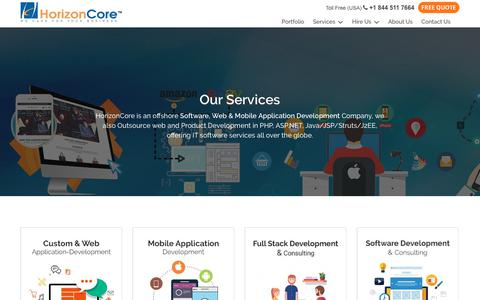 Screenshot of Services Page horizoncore.com - Our Services - HorizonCore India | Offshore Development Services India | Offshore Development Solutions - captured Nov. 11, 2018