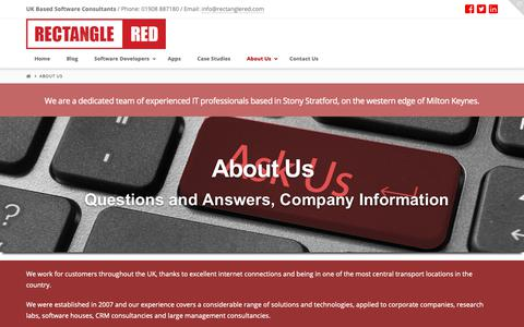 Screenshot of About Page rectanglered.com - About Rectangle Red - UK Software Development Company - captured Oct. 20, 2018