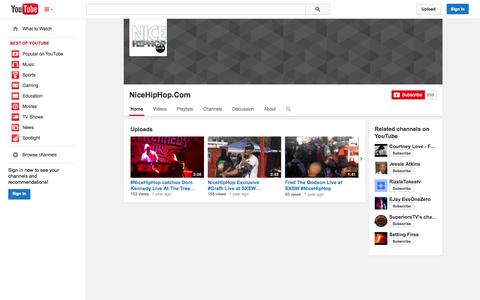 Screenshot of YouTube Page youtube.com - NiceHipHop.Com  - YouTube - captured Oct. 26, 2014