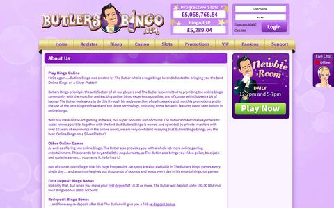 Screenshot of About Page butlersbingo.com - About Us | Butlers Bingo - captured Sept. 23, 2014