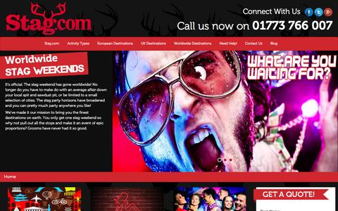 Screenshot of Home Page stag.com - UK and Worldwide Stag Parties - Stag Party Weekends - Stag.com - captured Oct. 6, 2014