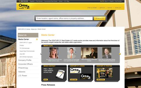 Screenshot of Press Page century21.com - CENTURY 21 Media Center | CENTURY 21 - captured Dec. 3, 2015