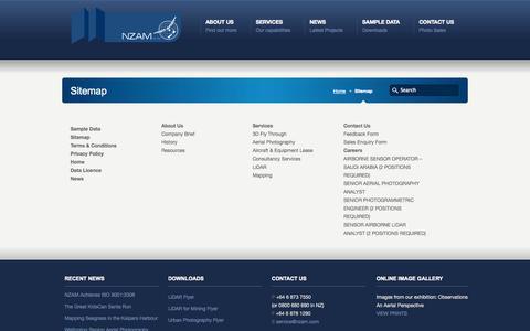 Screenshot of Site Map Page nzam.com - Sitemap - NZ Aerial Mapping Limited NZ Aerial Mapping Limited - captured Oct. 6, 2014