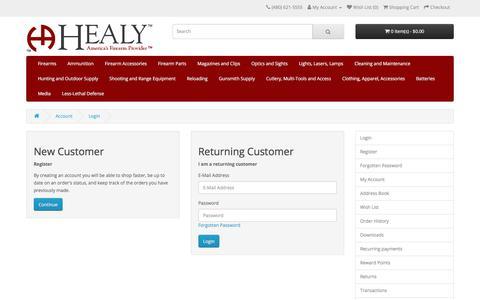 Screenshot of Login Page healyarms.com - Account Login - captured Sept. 26, 2018