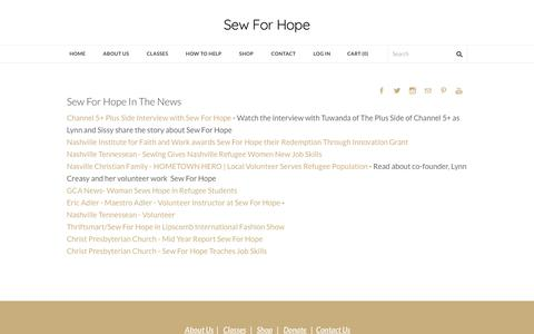 Screenshot of Press Page sewforhope.org - In The News - Sew For Hope - captured Oct. 20, 2017