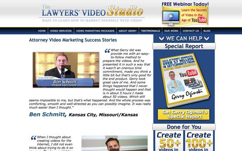 Screenshot of Testimonials Page lawyersvideostudio.com - Attorney Video Marketing Success Stories - captured Sept. 29, 2014