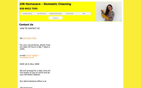 Screenshot of Contact Page jjn-homecare.co.uk - JJN Homecare - Domestic Cleaning - captured Aug. 2, 2015
