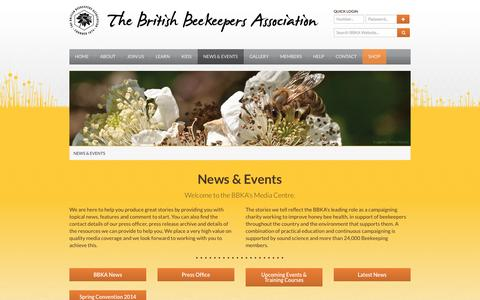 Screenshot of Press Page bbka.org.uk - News & Events - British Beekeepers Association (BBKA) - captured Sept. 22, 2014
