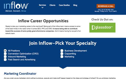 Screenshot of Jobs Page goinflow.com - Join Team Inflow and Amplify Your eCommerce Marketing Career! - captured Oct. 13, 2016