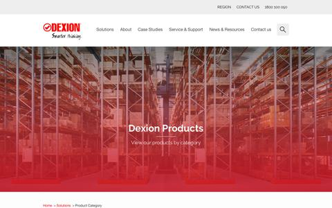 Screenshot of Products Page dexion.com.au - Product Category - Dexion - captured Aug. 6, 2018