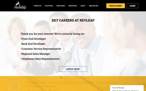 Screenshot of Jobs Page revleap.com - Career at RevLeap-Review Management Company-Find the Current Openings - captured July 8, 2018