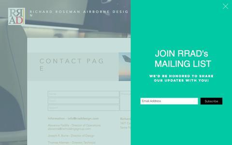 Screenshot of Contact Page rraddesign.com - RRAD CONTACT PAGE - captured Nov. 15, 2017