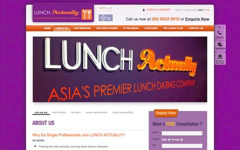 Screenshot of About Page lunchactually.com - Dating Agencies | Online Dating - LunchActually Singapore, Kuala Lumpur, Penang, Hong Kong and Jakarta - captured Oct. 27, 2014