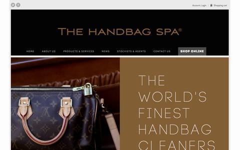 Screenshot of Home Page thehandbagspa.com - Handbag Repair, Restoration and Cleaning | The Handbag Spa - captured Oct. 6, 2014
