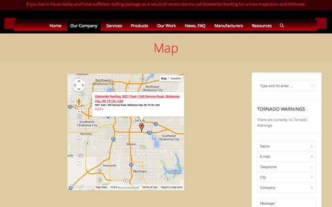 Screenshot of Maps & Directions Page staterfg.com - Map | Statewide Roofing Oklahoma - captured Oct. 7, 2014