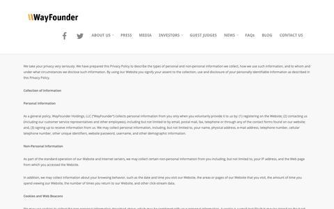 Screenshot of Privacy Page wayfounder.com - Privacy Policy – WayFounder.com - captured Nov. 7, 2018