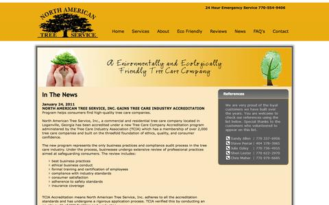 Screenshot of Press Page northamericantree.com - News About North American Tree Service - captured Oct. 7, 2014