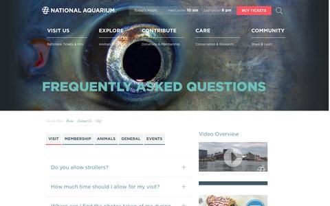 Screenshot of FAQ Page aqua.org - National Aquarium   FAQ - captured Dec. 11, 2015