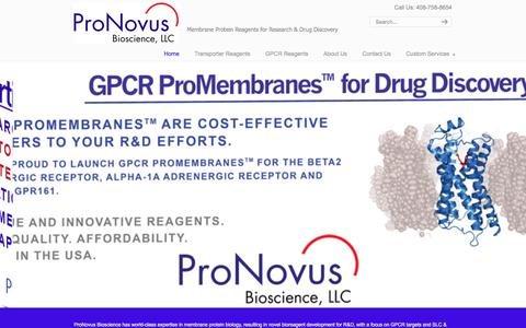 Screenshot of Home Page pronovusbio.com - ProNovus Bioscience, LLC – Membrane Protein Reagents for Research & Drug Discovery - captured Feb. 1, 2016