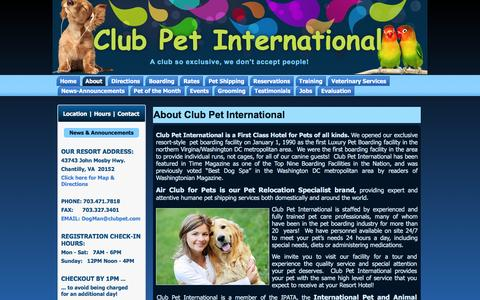 Screenshot of About Page Privacy Page Terms Page clubpet.com - About Club Pet International | Club Pet International - captured Jan. 29, 2016