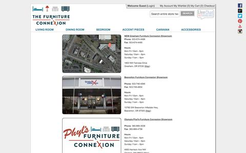 Screenshot of Locations Page furnitureconnexion.com - Furniture Connexion Portland, Gresham and Beaverton Stores  - Furniture Connexion - captured Sept. 30, 2014
