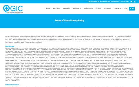 Screenshot of Privacy Page Terms Page gicmd.com - Terms of Use & Privacy Policy - GIC Medical Disposal | Fully Compliant Services - captured Sept. 26, 2018