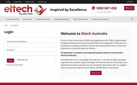 Screenshot of Login Page eltech.com.au - My account - Eltech Australia - captured Sept. 28, 2018