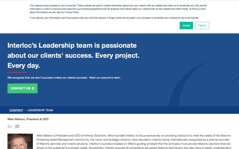 Screenshot of Team Page interlocsolutions.com - Leadership Team for Maximo Partner, Interloc Solutions - captured Sept. 19, 2018