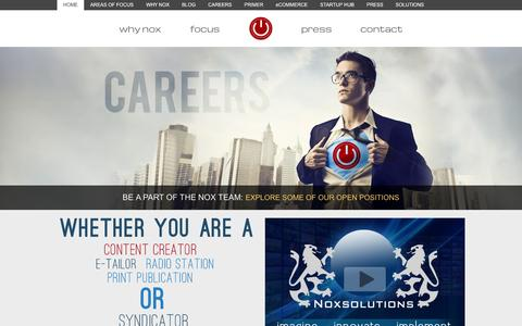 Screenshot of Home Page noxsolutions.com - Nox Solutions provides complete turnkey, enterprise level solutions ranging from website design, hosting and streaming to e-commerce, marketing, customer service and product fulfillment to some of the biggest names in broadcasting. - captured Oct. 7, 2014