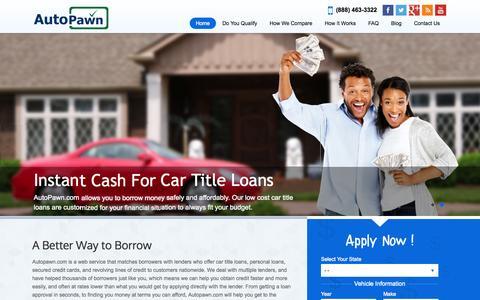 Screenshot of Home Page autopawn.com - Car Title Loans - Auto Title Loans   Auto Pawn - captured June 19, 2015