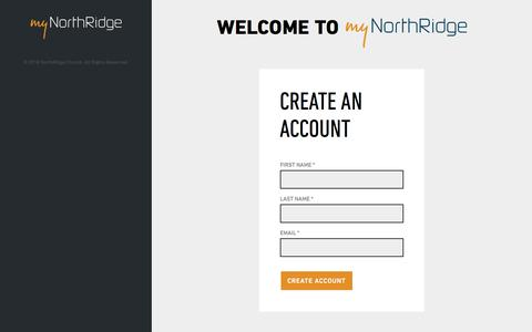 Screenshot of Signup Page northridgechurch.com - Create an Account | MyNorthRidge - captured Sept. 20, 2018