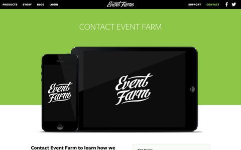 Screenshot of Contact Page eventfarm.com - Contact Event Farm | Event Farm - captured Dec. 4, 2015