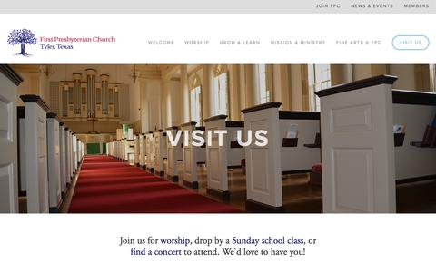 Screenshot of Contact Page fpctyler.com - Visit Us — First Presbyterian Church - captured Feb. 10, 2016