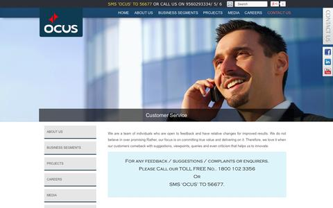 Screenshot of Support Page ocusgroup.com - Customer Service | Ocus - captured Oct. 9, 2014