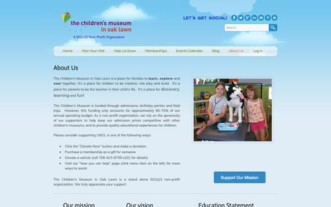 Screenshot of About Page cmoaklawn.org - About Us - Children's Museum in Oak Lawn - captured Sept. 27, 2018